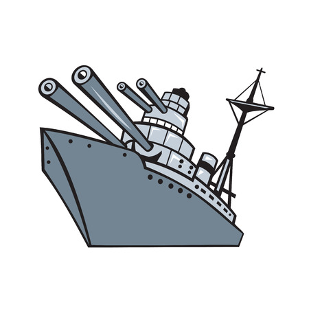 Cartoon style illustration of a world war two battleship, cruiser or destroyer with big guns or cannons viewed from low angle on isolated background. Stock Vector - 127533076