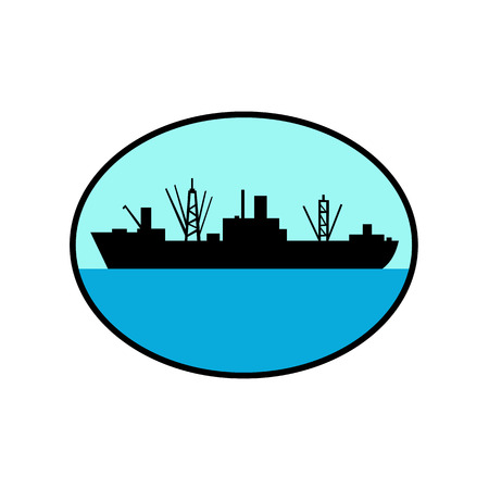 Retro style illustration of silhouette of a World war two amphibious attack cargo ship viewed from side set inside oval on isolated background. Illustration