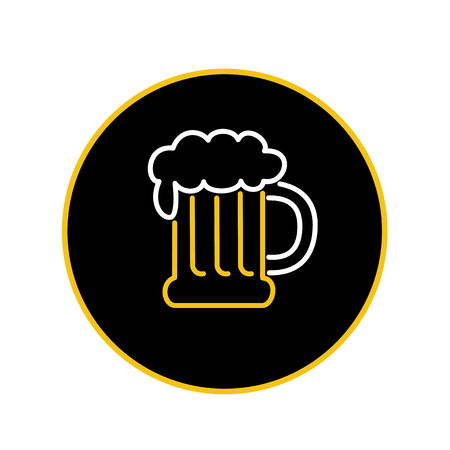 Icon retro style illustration of vintage beer mug with foam neon light  on isolated background. Illustration