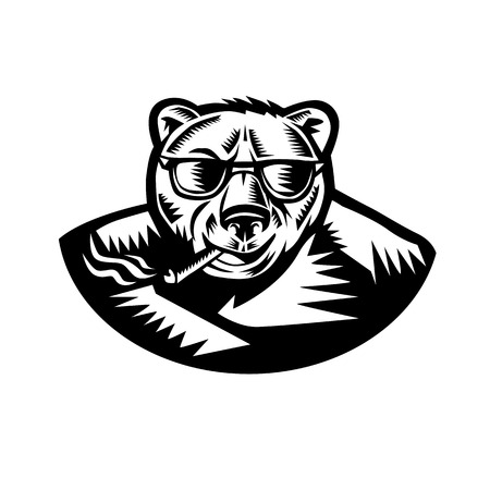 Retro woodcut style illustration of a grizzly bear smoking a cigar viewed from front on isolated background in black and white. Illustration