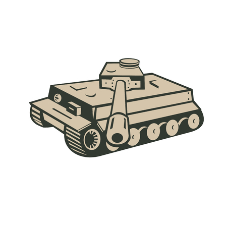 Retro style illustration of a German world war two panzer battle tank aiming towards viewer on isolated background.