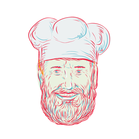 Drawing sketch style illustration of a hipster baker, cook, chef, food worker wearing a beard viewed from front on isolated white background. Illustration