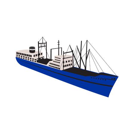 Ilustración de estilo retro de un transatlántico de carga, mercante o buque de pasajeros vintage visto desde un ángulo alto sobre fondo aislado. Ilustración de vector