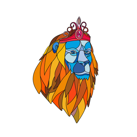 Mosaic low polygon style illustration of a lion with big mane wearing a tiara crown viewed from front on isolated white background in color.