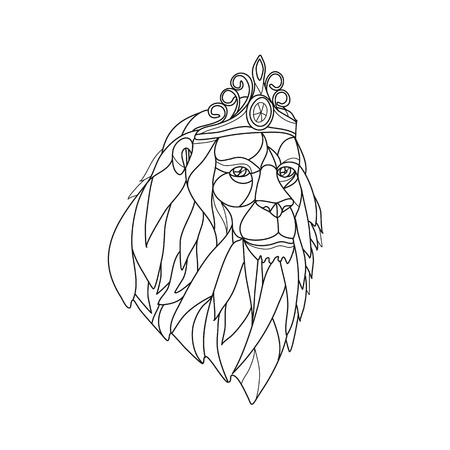 Mosaic low polygon style illustration of a princess lion with big mane wearing a tiara crown viewed from front on isolated white background in black and white. Illustration
