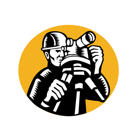 Retro woodcut style illustration of geodetic engineer or surveyor with theodolite level set inside oval on isolated background.