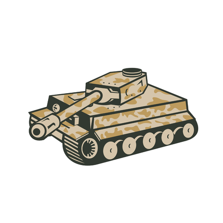 Retro style illustration of German world war two camouflaged panzer battle tank aiming its cannon towards the side on isolated background. Illustration
