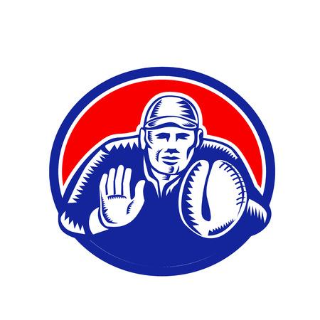 Ilustración de estilo retro grabado en madera de un receptor de béisbol, lanzador o jugador a punto de atrapar la bola dentro de óvalo sobre fondo aislado. Ilustración de vector