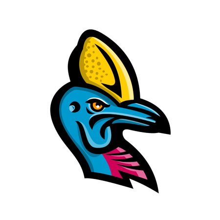 Mascot icon illustration of head of a Cassowary, genus Casuarius, ratites a flightless bird native to New Guinea and Australia viewed from side on isolated background in retro style.
