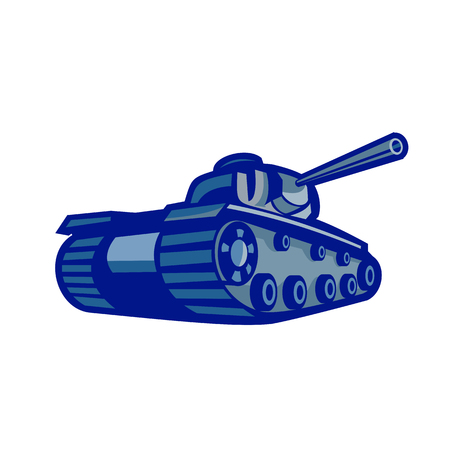 Retro style illustration of an American world war two battle tank pointing its gun to side viewed mfrom low angle on isolated background.