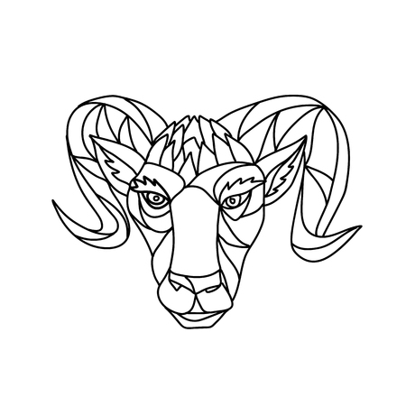 Mosaic low polygon style illustration of a head of a bighorn sheep ram viewed from front on isolated white background in black and white.