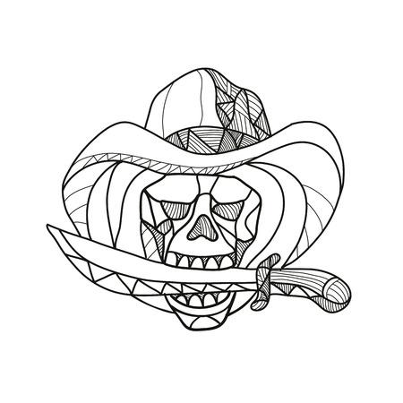 Illustration de style mosaïque à faible polygone d'un crâne de pirate de cow-boy portant un chapeau mordant un poignard, un couteau ou une épée vu de l'avant sur un fond blanc isolé en couleur.