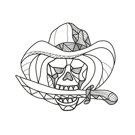 Mosaic low polygon style illustration of a cowboy pirate skull wearing a hat biting a dagger, knife or sword viewed from front on isolated white background in color.
