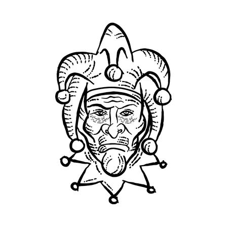Cabeza de ilustración de estilo de grabado de un bufón de la corte medieval, arlequín, tonto o bromista visto desde el frente realizado en estilo scratchboard scraperboard sobre fondo aislado en blanco y negro.