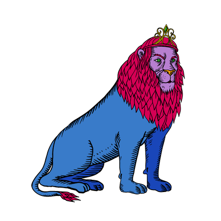 Etching style illustration of a blue male lion with red mane wearing a tiara or crown sitting down done on scraperboard scratchboard style on isolated background in black and white.