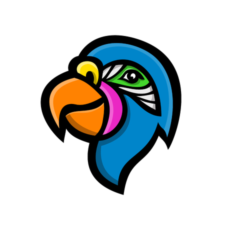 Mascot icon illustration of head of a parrot, also known as psittacine, birds  that mostly found tropical and subtropical regions viewed from side on isolated background in retro style.