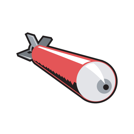 Retro style illustration of a red world war two torpedo coming down on isolated background.