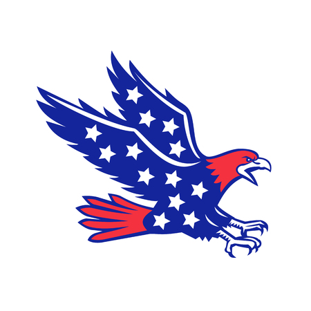 Icon retro style illustration of an American eagle screaming and swooping viewed from side with stars inside body on isolated background.