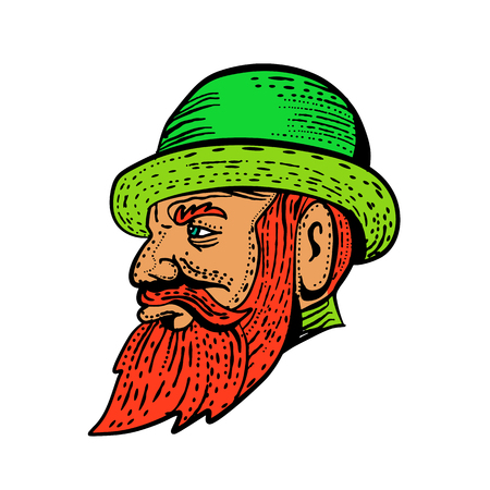 Etching style illustration of a hipster gentleman with bushy beard and mustache wearing a bowler hat viwedr from side done on scraperboard scratchboard style in color on isolated background. Çizim