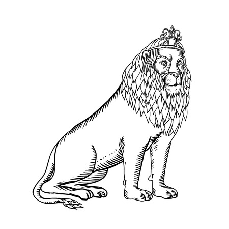 Etching style illustration of a male lion with full mane wearing a tiara or crown sitting down done on scraperboard scratchboard style on isolated background in black and white.