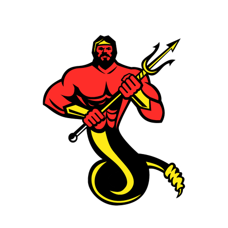 Mascot icon illustration of Typhon,Typhoeus, Typhaon or Typhos, a monstrous serpentine giant and the most deadly creature in Greek mythology holding a trident  viewed from front on isolated background in retro style.