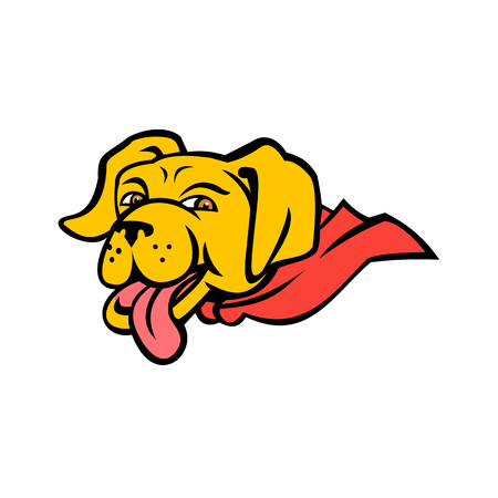 Sports mascot icon illustration of head of a super yellow labrador retriever dog wearing a red cape with tongue out  viewed from side on isolated background in color retro style.