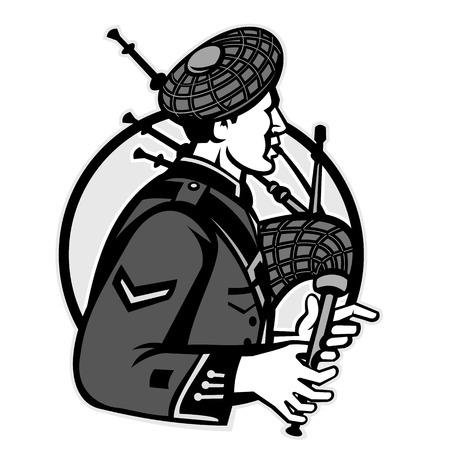 Illustration eines schottischen Dudelsackpfeifers, der Dudelsack spielt, der von der Seite betrachtet wird, die innerhalb des Kreises auf lokalisiertem weißem Hintergrund gesetzt wird, der im Retrostil der Schwarzweiss-Graustufen getan wird.
