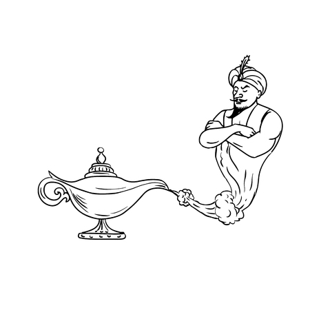 Drawing sketch style illustration of an Arabian genie coming out of an old oil lamp on isolated white background done in black and white. Illustration