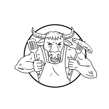 Drawing sketch style illustration of a cartoon steer or Texas longhorn bull holding a fork with burning flaming barbecue sausage on fire set inside circle on isolated white in black and white.