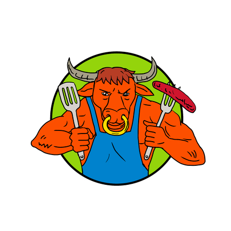 Drawing sketch style illustration of a cartoon Texas longhorn bull or steer holding a fork with burning flaming barbecue sausage set inside circle on isolated white in black and white.