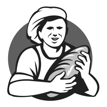 Illustration of a female baker chef cook holding loaf of bread set inside circle done in black and white grayscale retro style.
