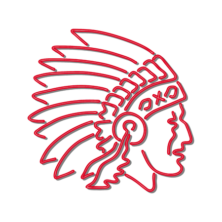 Retro style illustration showing a 1990s neon sign light signage lighting of a Native American Indian chief wearing headdress viewed from side on isolated background.