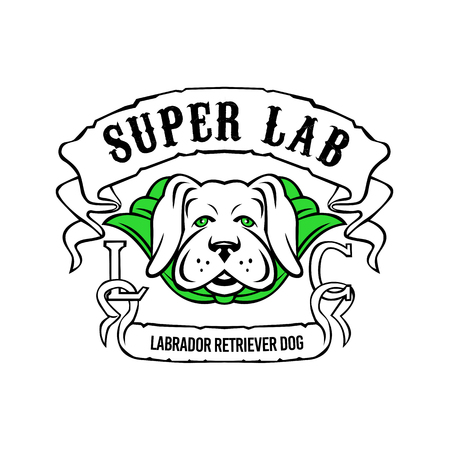 Motorcycle or biker gang style illustration of a super yellow labrador retriever dog wearing a green cape front view with ribbon or scroll with text Super Lab on isolated background in retro style. Illustration