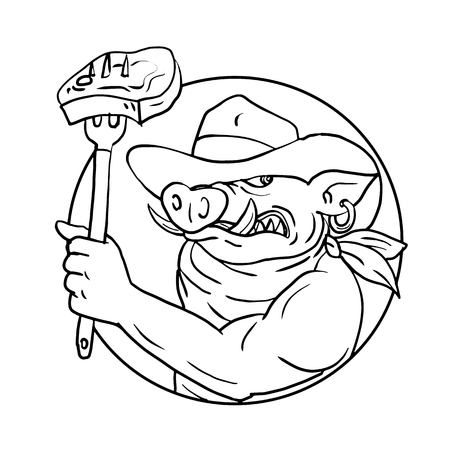 Drawing sketch style illustration of a cowboy wild pig, hog or wild boar holding a fork with barbecue steak set inside circle on isolated white background in black and white. Foto de archivo - 127052273
