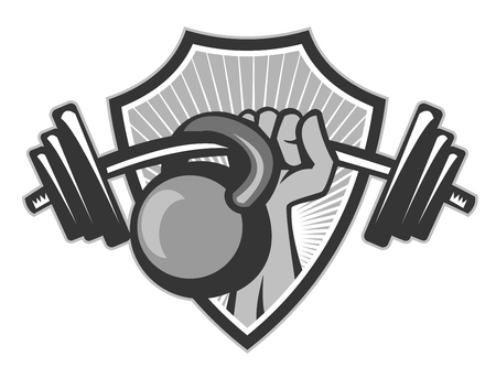 Illustration of a hand lifting weights barbell kettlebell set inside shield crest done in black and white grayscale retro style. Illustration