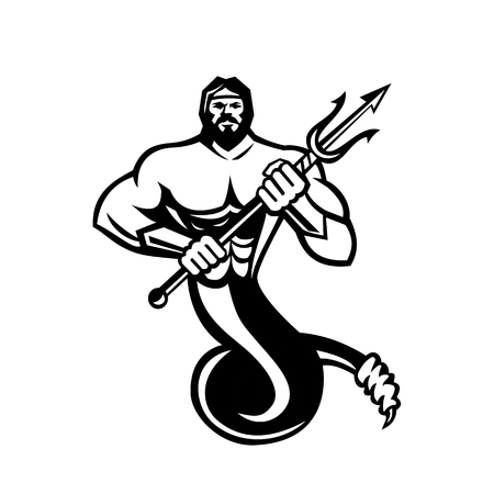 Mascot icon illustration of Typhon,Typhoeus, Typhaon or Typhos, a monstrous serpentine giant and the most deadly creature in Greek mythology holding a trident in black and white on isolated background in retro style.