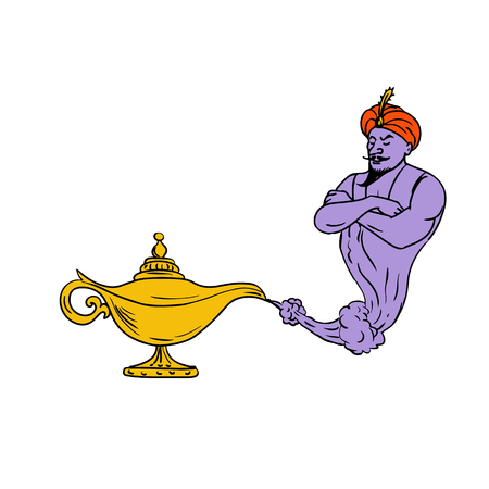 Drawing sketch style illustration of an Arabian genie coming out of a golden or gold oil lamp on isolated white background.