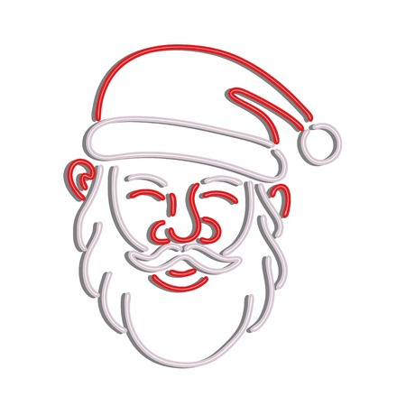 Retro style illustration showing a 1990s neon sign light signage lighting of a head of Santa Claus viewed from front on isolated background.  イラスト・ベクター素材
