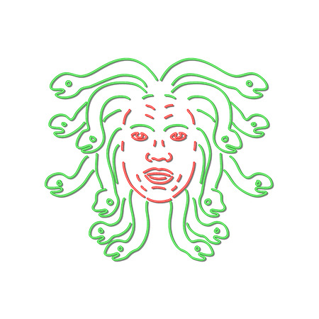 Retro style illustration showing a 1990s neon sign light signage lighting of head of Medusa in Greek mythology, Gorgon monster, living venomous snakes instead of hair on isolated background. Çizim