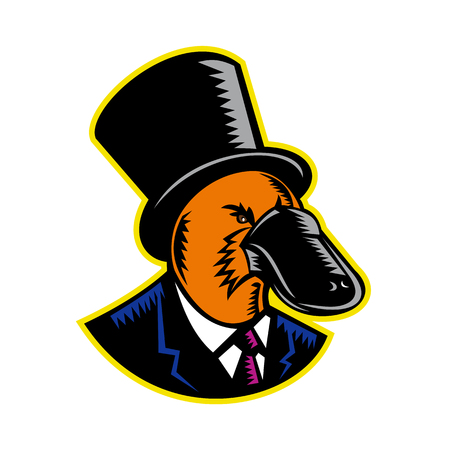 Retro woodcut style illustration of a duck-billed platypus, a semiaquatic egg-laying mammal endemic to eastern Australia, wearing a topper or top hat and suit on isolated background in color. Illustration