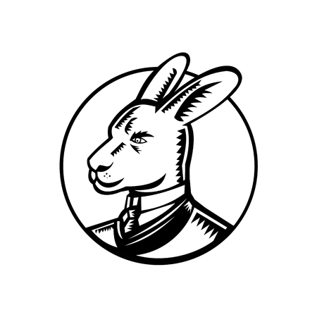 Retro woodcut style illustration of a proud kangaroo wearing a Victorian gentleman style business suit looking to side of isolared white background in black and white. Illustration