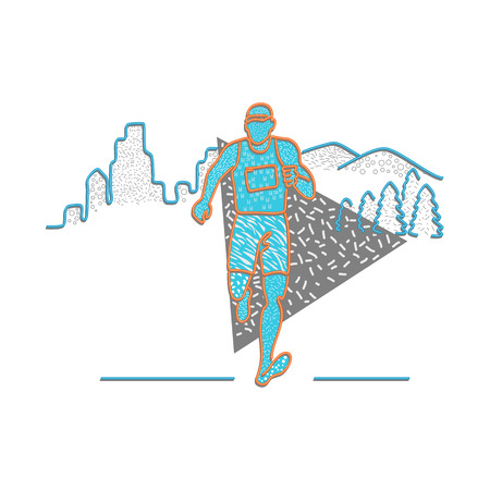 1980s Memphis style design illustration of a marathon runner running with buildings and mountains behind him on isolated background.