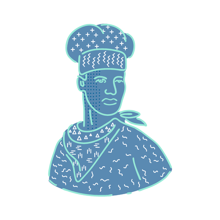 1980s Memphis style design illustration of a chef, cook or baker wearing a scarf or bandana looking to side on isolated background. Illustration