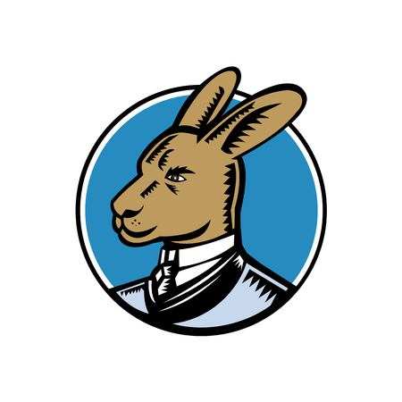 Retro woodcut style illustration of a proud wallaby, wallaroo or kangaroo wearing a Victorian gentleman style business suit looking to side of isolared white background in black and white. Illustration