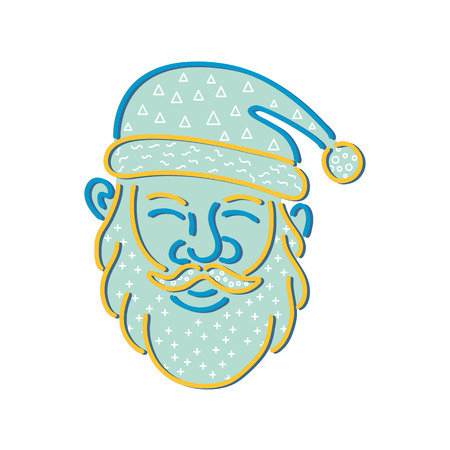 1980s Memphis style design illustration of Santa Claus, Kris Kringle or Saint Nick viewed from front on isolated background.