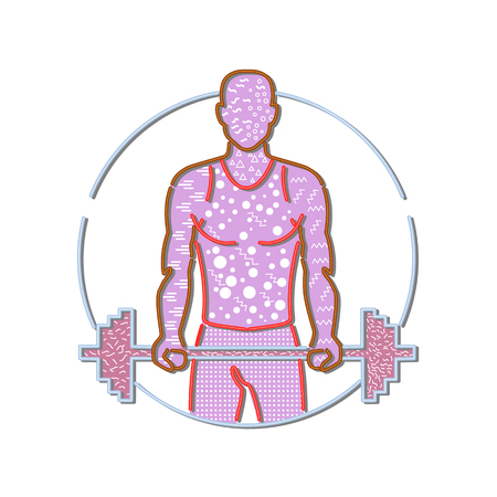 1980s Memphis style design illustration of personal trainer lifting a barbell viewed from front set inside circle on isolated background.
