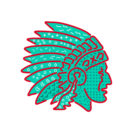 1980s Memphis style design illustration of a Native American Indian chief wearing a feathered headdress viewed from side on isolated background.