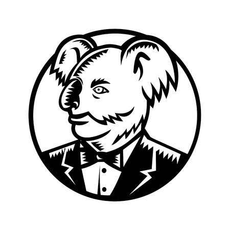 Retro woodcut style illustration of a koala, an arboreal herbivorous marsupial native to Australia, wearing a tuxedo black tie looking to side set inside circle done in black and white.