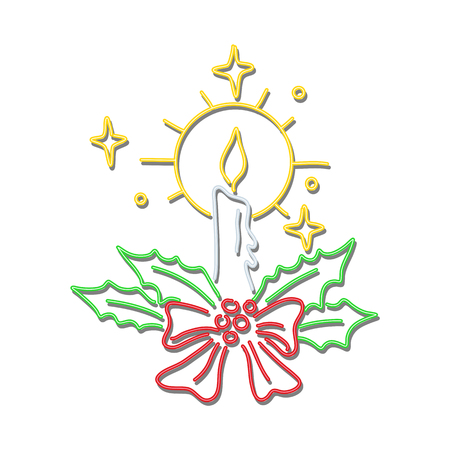Retro style illustration showing a 1990s neon sign light signage lighting of a Christmas holiday season candle with ribbon and wreath on isolated background.