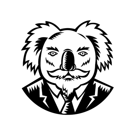 Retro woodcut style illustration of a koala, an arboreal herbivorous marsupial native to Australia, with moustache wearing a coat and tie viewed from front done in black and white.